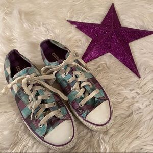 Converse Shoes - Converse Sz 8 1/2 Plaid Purple Turquoise Women